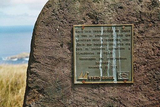 Eine Gedenktafel auf der Osterinsel erinnert an die Entdeckung des Rapamycin.